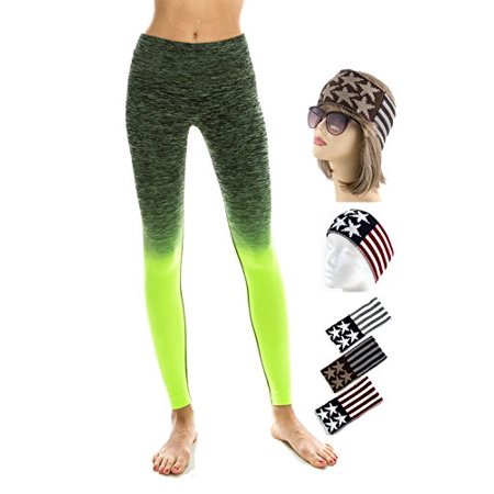 TD Collections Girl's Slim Two Tone Workout Full Length Yoga Pants (L, Black+Neon Green)
