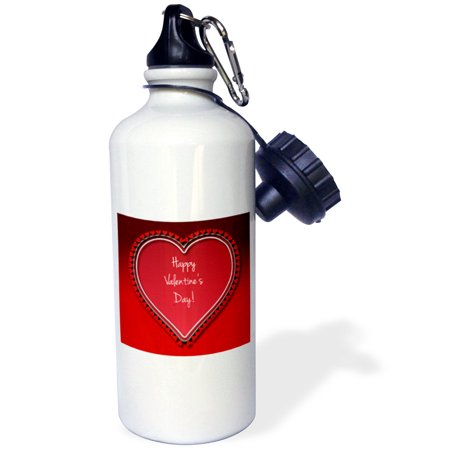 3Drose Large Red Heart Surrounded By Small Red Hearts With Happy Valentines Day On A Red Background  Sports Water Bottle  21Oz