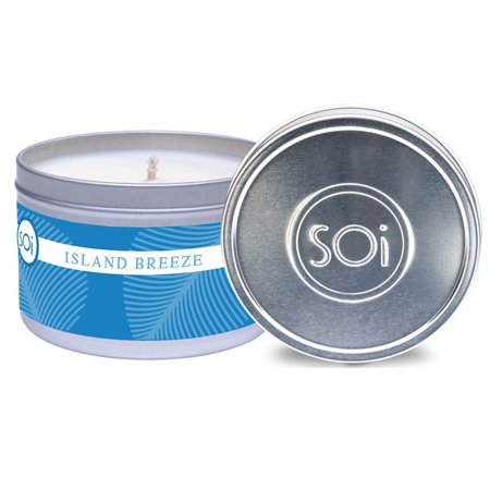 The SOI Co. Island Breeze Tin Candle 8oz Home Decor Aromatherapy Spa Relaxation Relax Day Spa