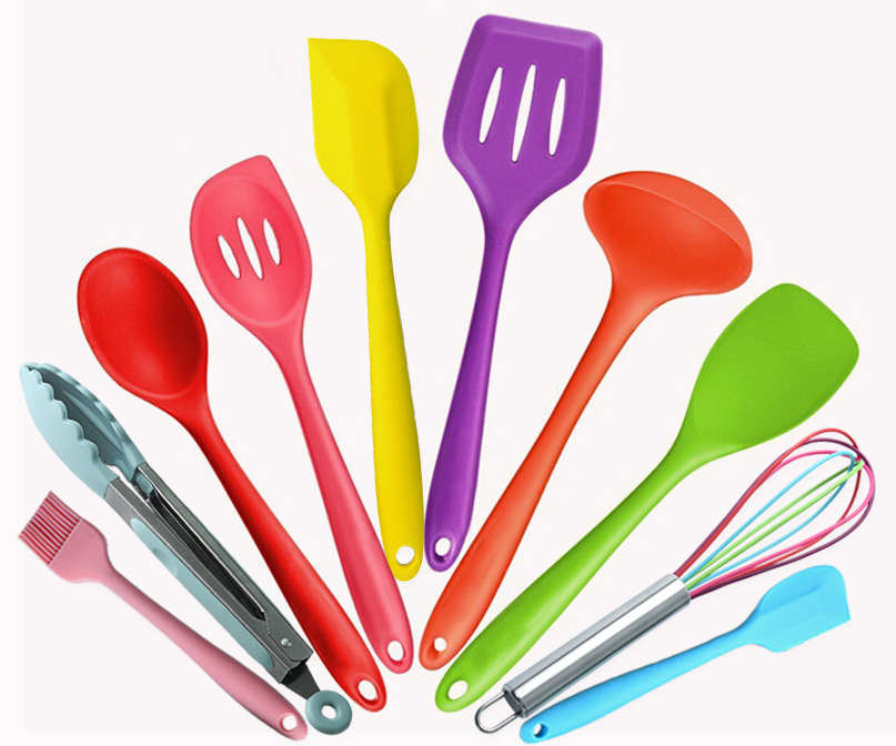 Silicone Kitchen Utensils Colorful 10 Pieces, Nonstick Cookware Colored Kitchen  Utensil Set,Cooking Utensils
