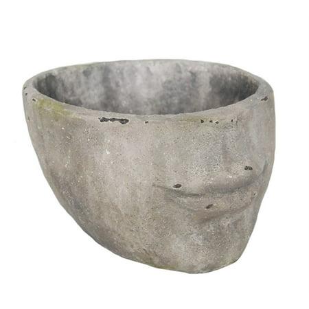 Unique Decorative Resin Face Flower Pot, Gray
