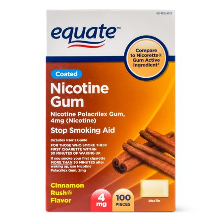 Equate Coated Nicotine Gum, Cinnamon Rush Flavor, 4 mg, 100 Count
