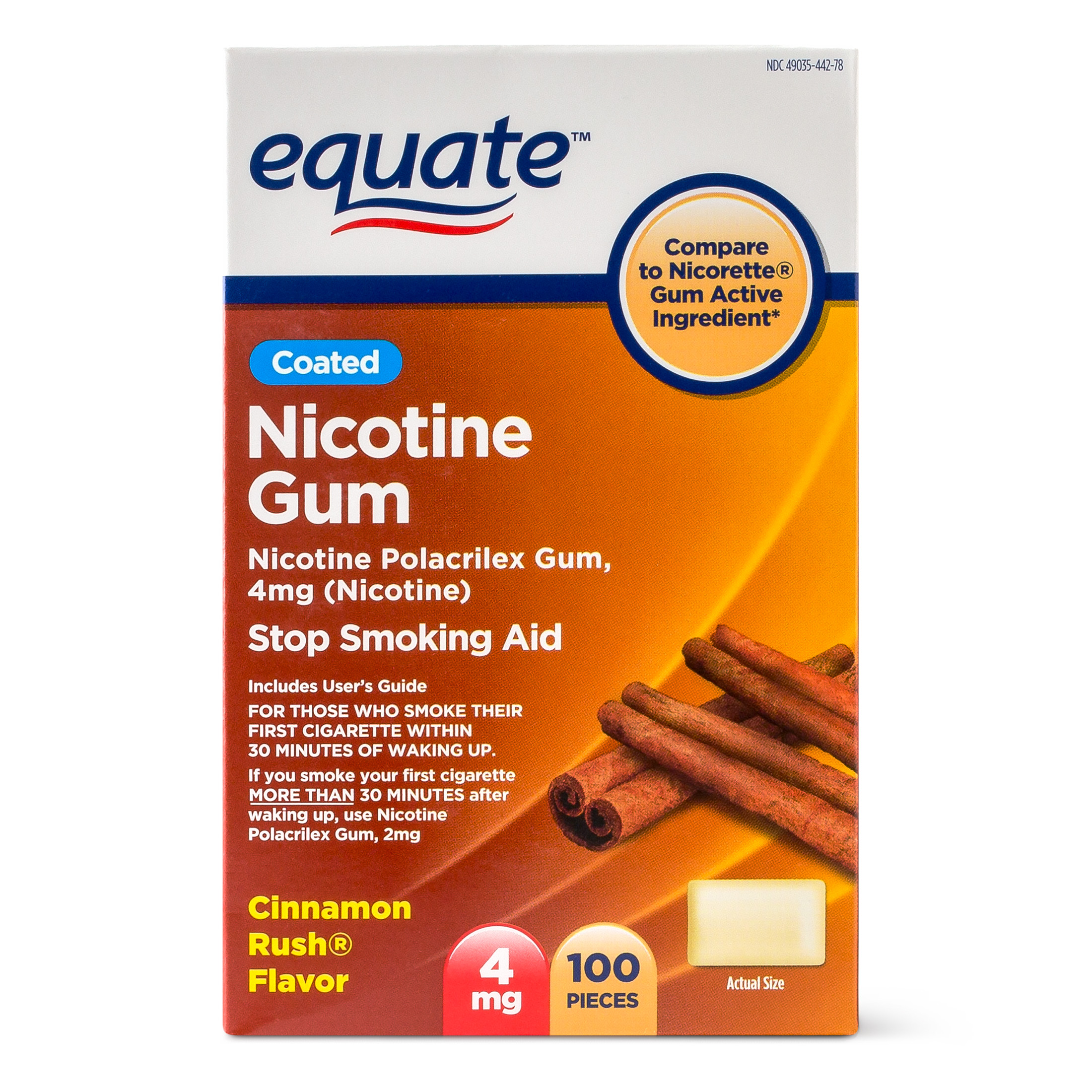 Equate Coated Nicotine Gum, Cinnamon Rush Flavor, 4 mg, 100 Ct