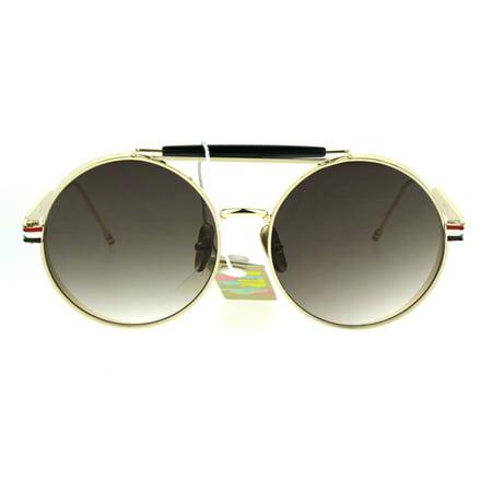 7f5ca3922c0d1 SA106 - Mens Luxury Steampunk Side Visor Round Circle Sport Metal Rim  Sunglasses Gold Brown - Walmart.com