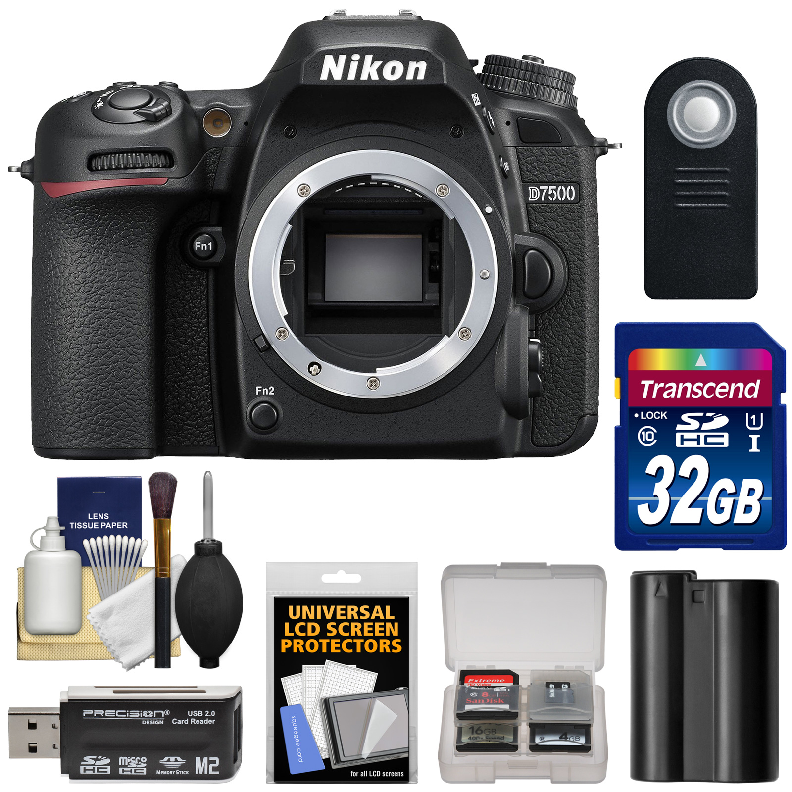 Nikon D7500 Wi-Fi 4K Digital SLR Camera Body - Factory Refurbished with  32GB Card + Battery + Remote + Reader + Kit