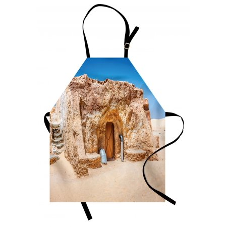 Galaxy Apron One of Abandoned Sets of Movie in Tunisia Desert Phantom Menace Galaxy Themed Image, Unisex Kitchen Bib Apron with Adjustable Neck for Cooking Baking Gardening, Brown Blue, by Ambesonne - Desert Theme