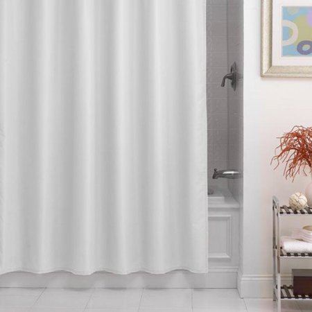 Pierce Fabric Microfiber Shower Curtain Liner W Weighted Bottom Hem Suction Cup