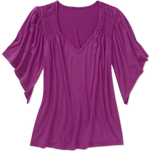Faded Glory Women's Smocked Shoulder Knit Top
