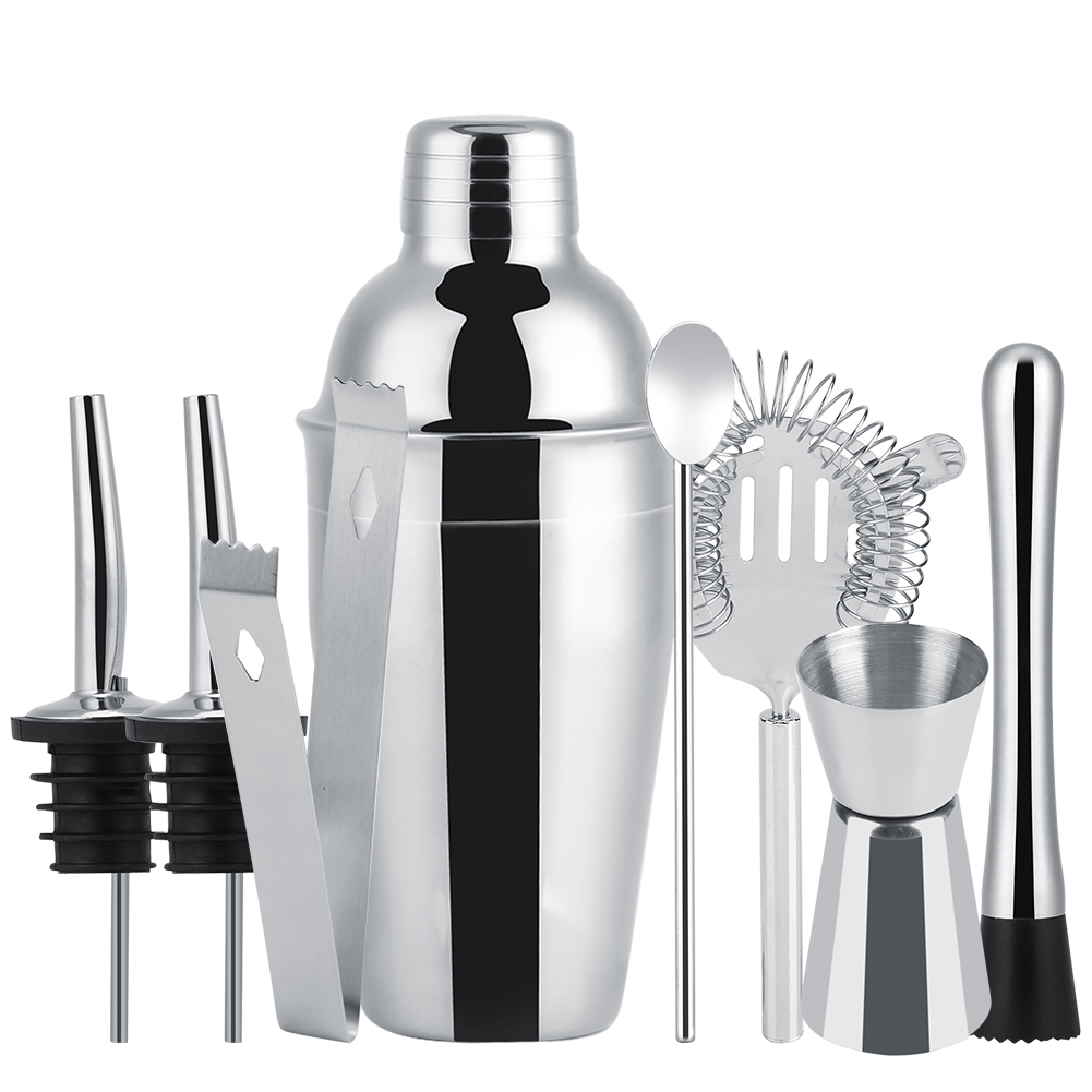 8Pcs Stainless Steel Cocktail Shaker Set Ice Tong Mixing Spoon Pourers Bar Tools(550ML) by