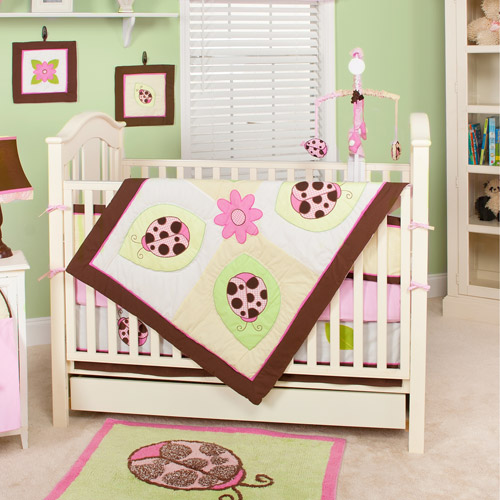 Pam Grace Creations Ladybug Lucy 10pc Nursery in a Bag Crib Bedding Set