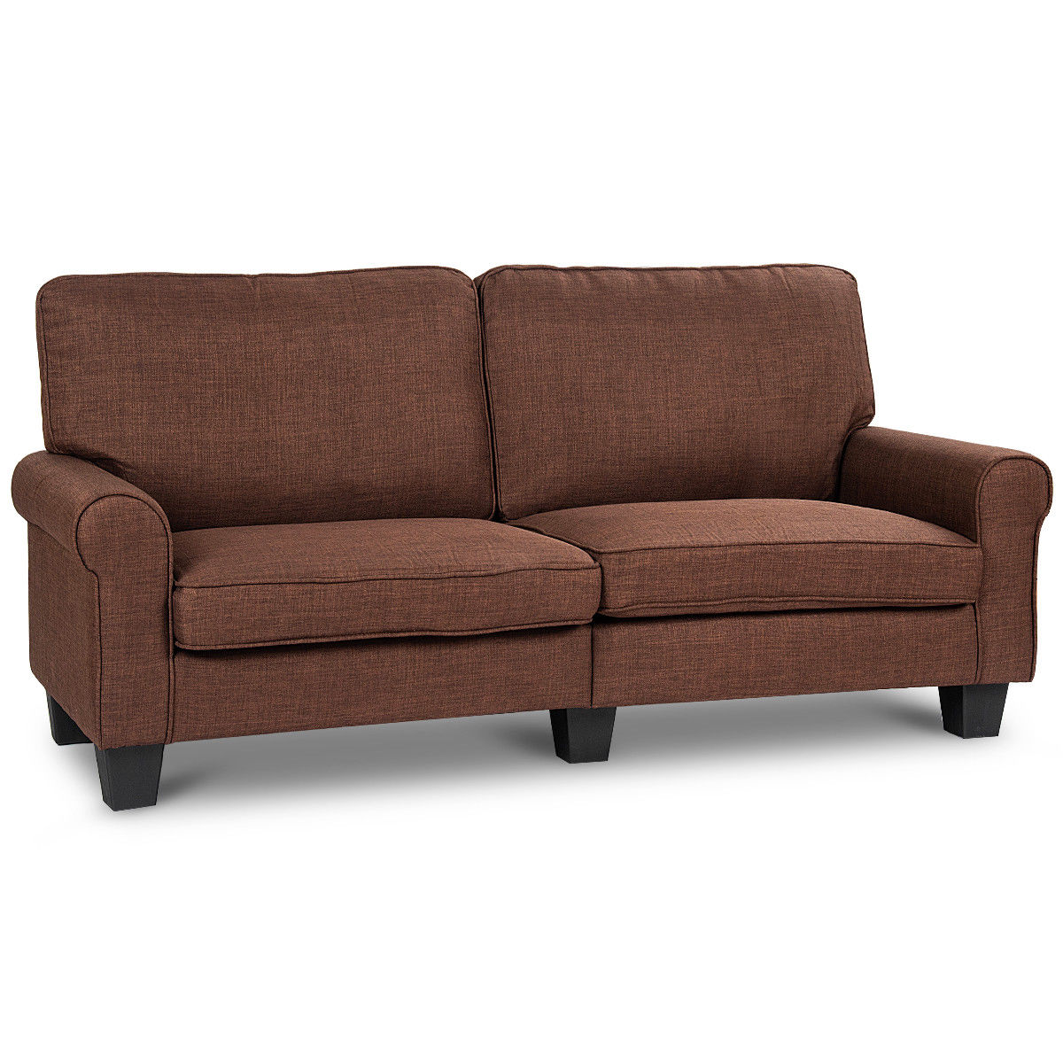 Gymax Sofa Couch Loveseat Fabric Upholstered Curved Armrest Home Living Room Furniture