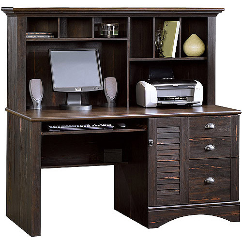 Sauder Harbor View Computer Desk with Hutch, Antiqued Paint