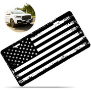 Zone Tech Tactical USA Flag License Plate - Black and White Grunge Thick Durable Novelty American Patriotic Pledge of Allegiance