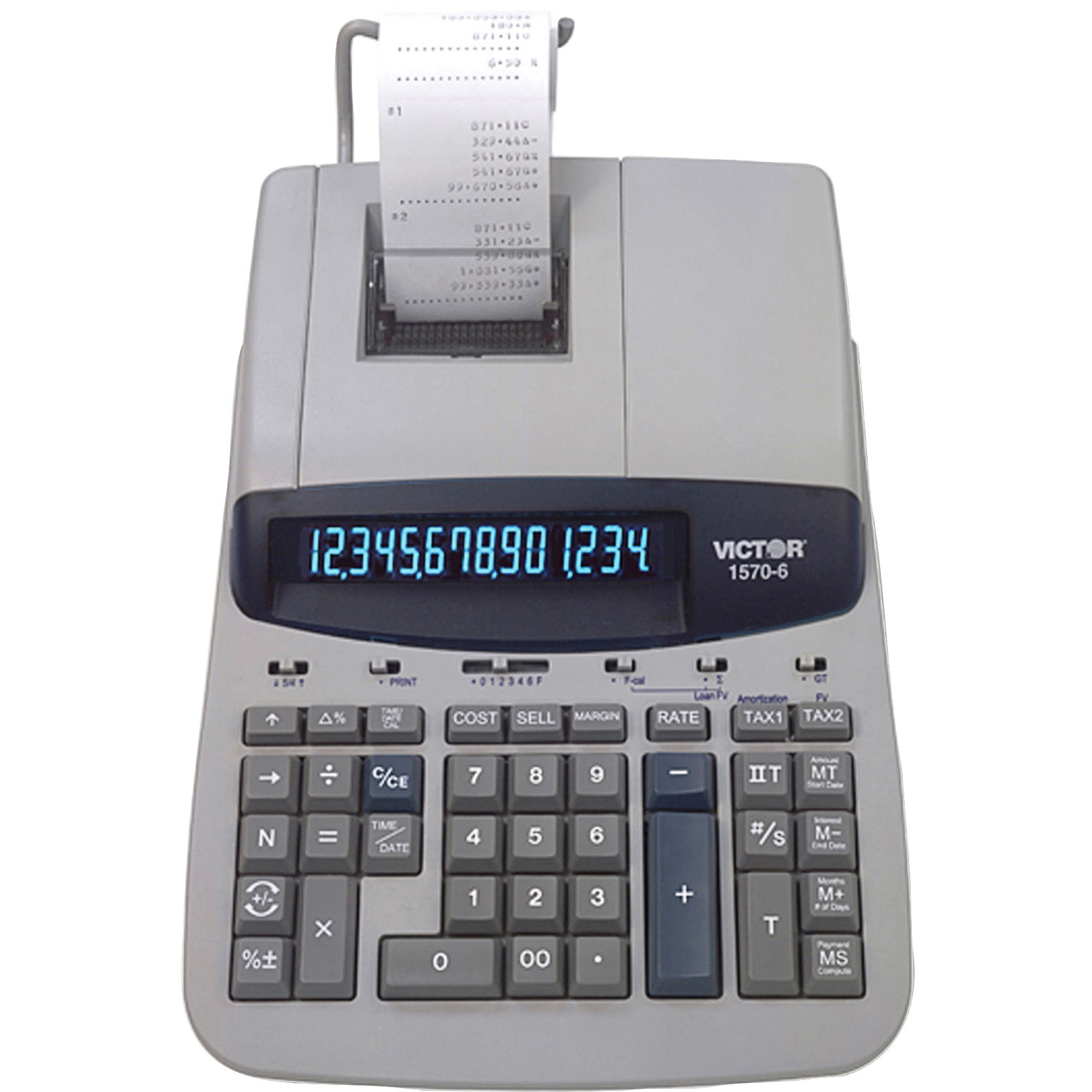 Victor, VCT15706, 15706 Heavy-Duty Printing Calculator, 1 Each, Gray,Off White