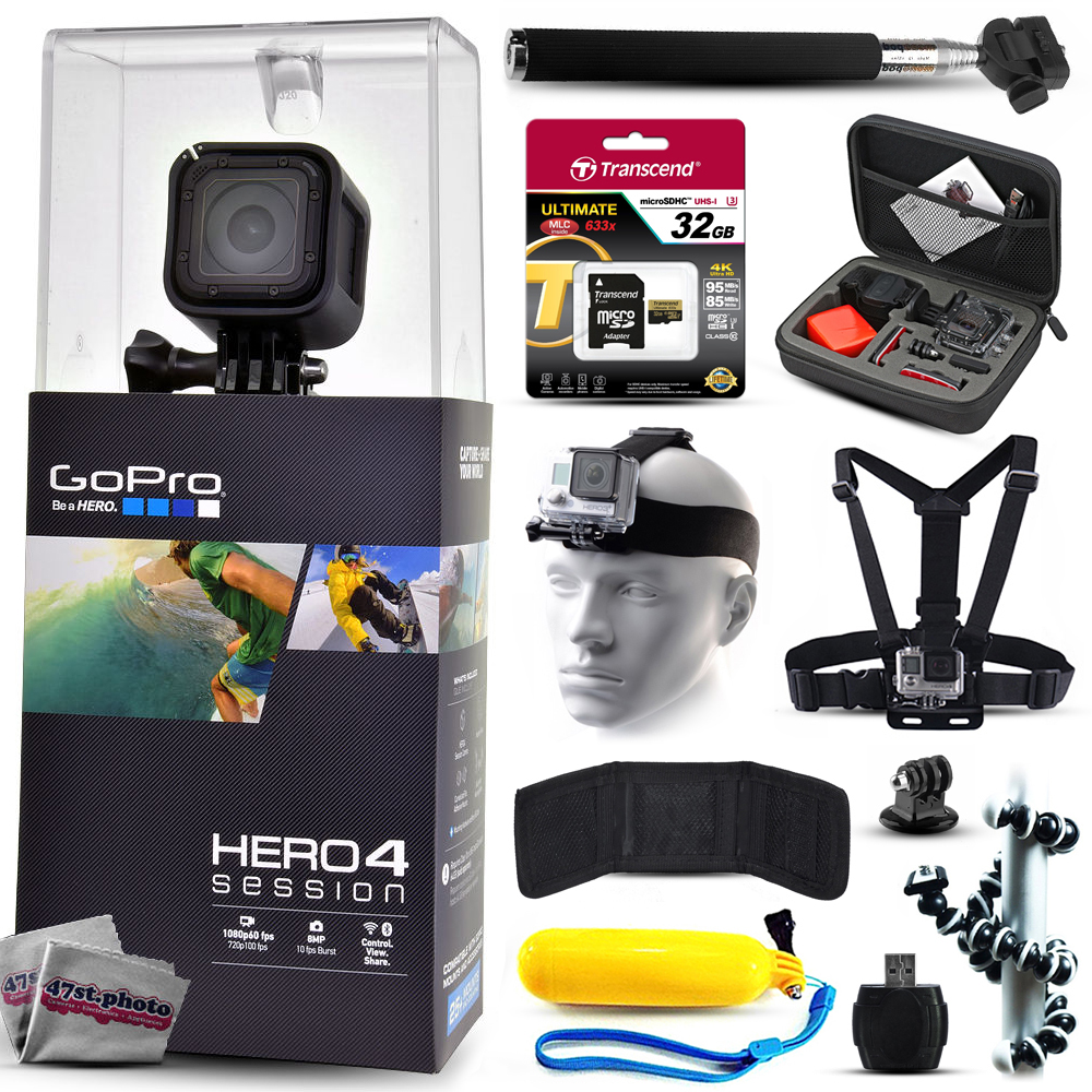 GoPro Hero 4 HERO4 Session CHDHS-101 with 32GB Ultra Memory + Premium Case + Head Strap + Selfie ...
