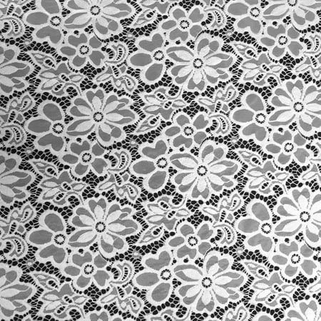 - Stretch Lace Fabric Embroidered Poly Spandex French Floral Florence 58