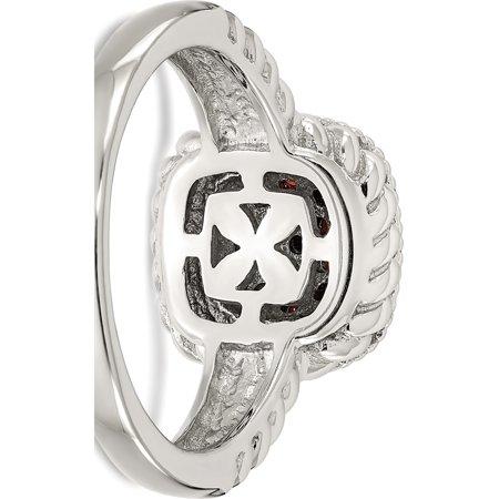 Sterling Silver w/14k Gold and Black Rhodium Garnet Ring - image 3 de 6
