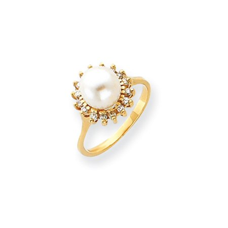 Solid 14k Yellow Gold 7.5mm FW Cultured Pearl AA Diamond ring - Size 4