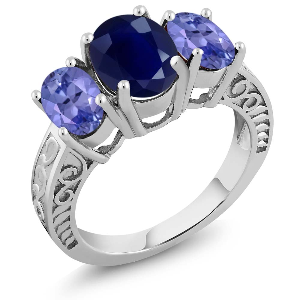 4.00 Ct Oval Blue Sapphire Blue Tanzanite 925 Sterling Silver Ring by