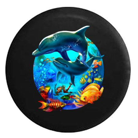Sea Life Party - Fish Coral Dolphins Ocean Salt Water Black 27.5 in