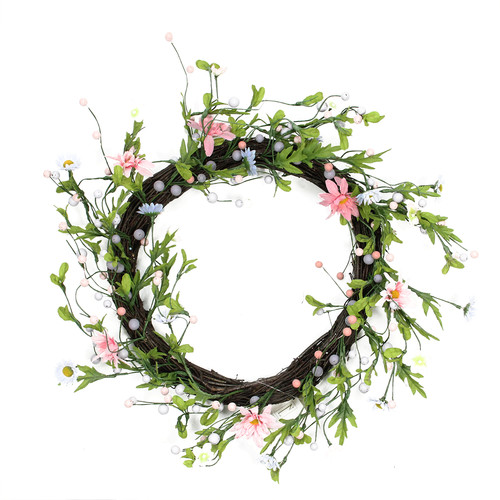 Northlight Seasonal Decorative Artificial Spring Floral Twig Wreath - Unlit