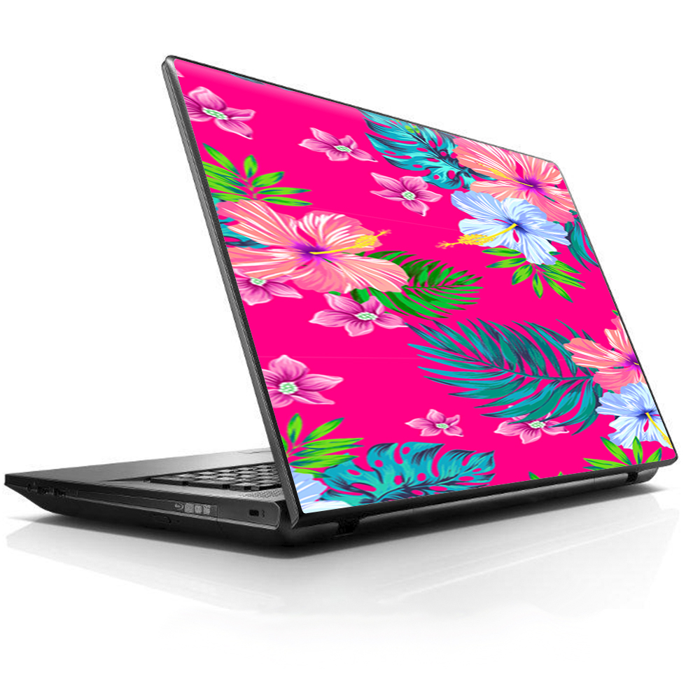 """Laptop Notebook Universal Skin Decal Fits 13.3"""" to 15.6"""" / Pink Neon Hibiscus Flowers"""