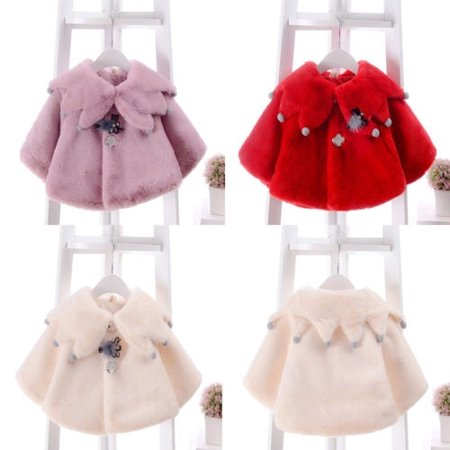 USA Newborn Kids Baby Girls Warm Coat Fleece Cloak Cape Jacket Outwear Clothes