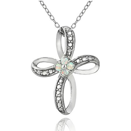 Opal Solid Cross (Created White Opal and Diamond Accent Sterling Silver Cross Pendant, 18