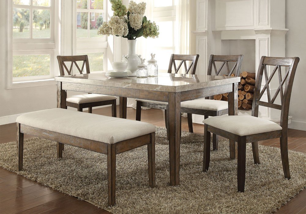 Simple Relax 1PerfectChoice Claudia Casual Dining Set Real White Marble  Table Chair Bench Salvage Brown Wood