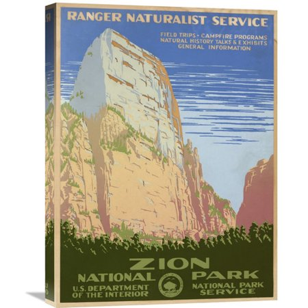 Global Gallery Zion National Park  Ca  1938 By Ranger Naturalist Service Vintage Advertisement On Wrapped Canvas