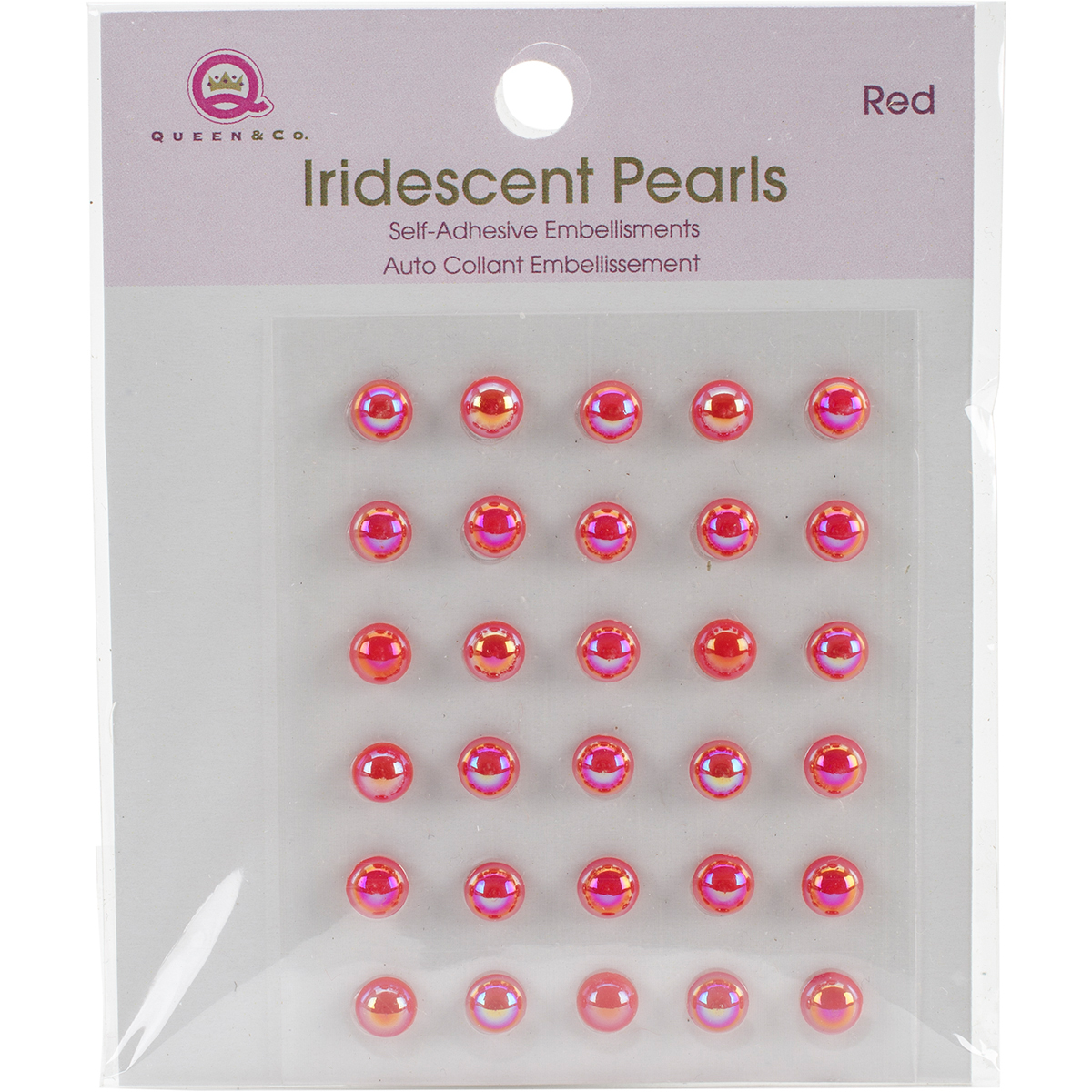 Queen & Co IP10-71  Iridescent Pearls Self-Adhesive 30/Pkg-Red