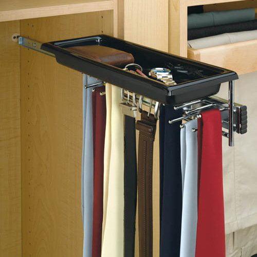 Rev-A-Shelf RTBC-14TCR Tie/Belt Rack with Tray - Chrome