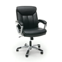Product Image Essentials By Ofm Ess 6020 Executive Leather Swivel Office Chair Black With Silver Frame