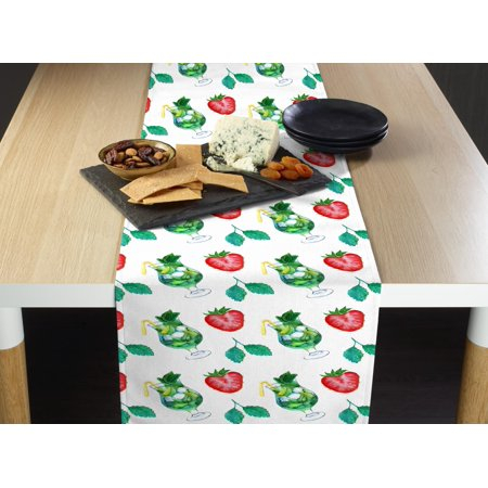 Fabric Textile Products Strawberry Mojito Allover Table Runner - Strawberry Mojito