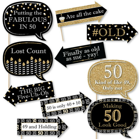 Funny Adult 50th Birthday - Gold - Birthday Party Photo Booth Props Kit - 10 Count - Birthday Party Stores