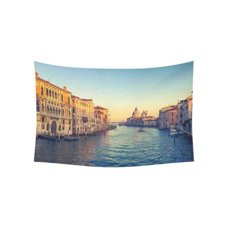 PHFZK Beautiful Italy Cityscape Wall Art Home Decor, Grand Canal in Venice Italy Sunset Time Tapestry Wall Hanging 40 X 60