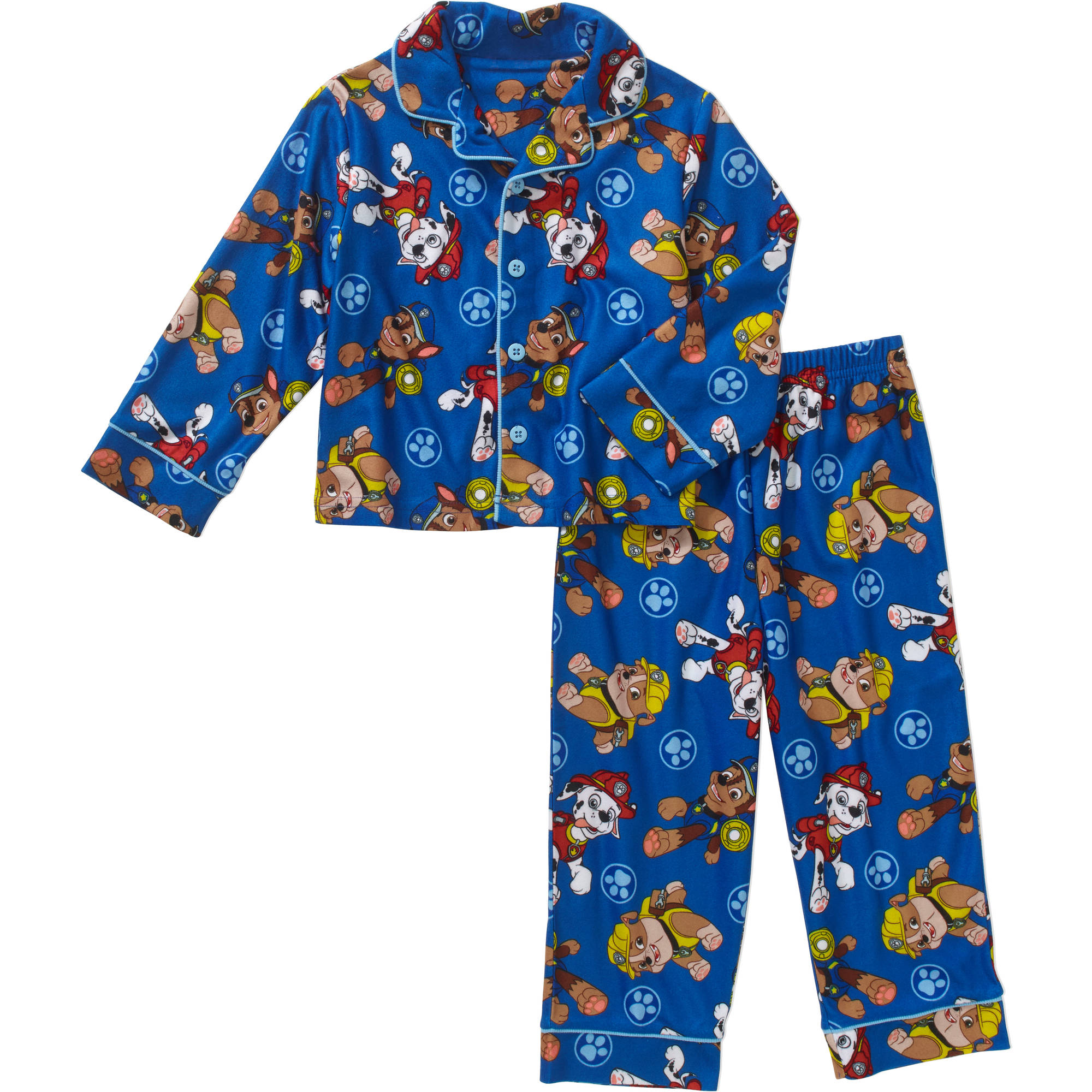 Paw Patrol Toddler Boys' Button Down Pajama Set - Walmart.com