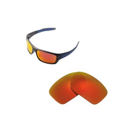 Walleva Fire Red Polarized Replacement Lenses for Oakley Turbine (Oakley Turbine Rotor Lenses)