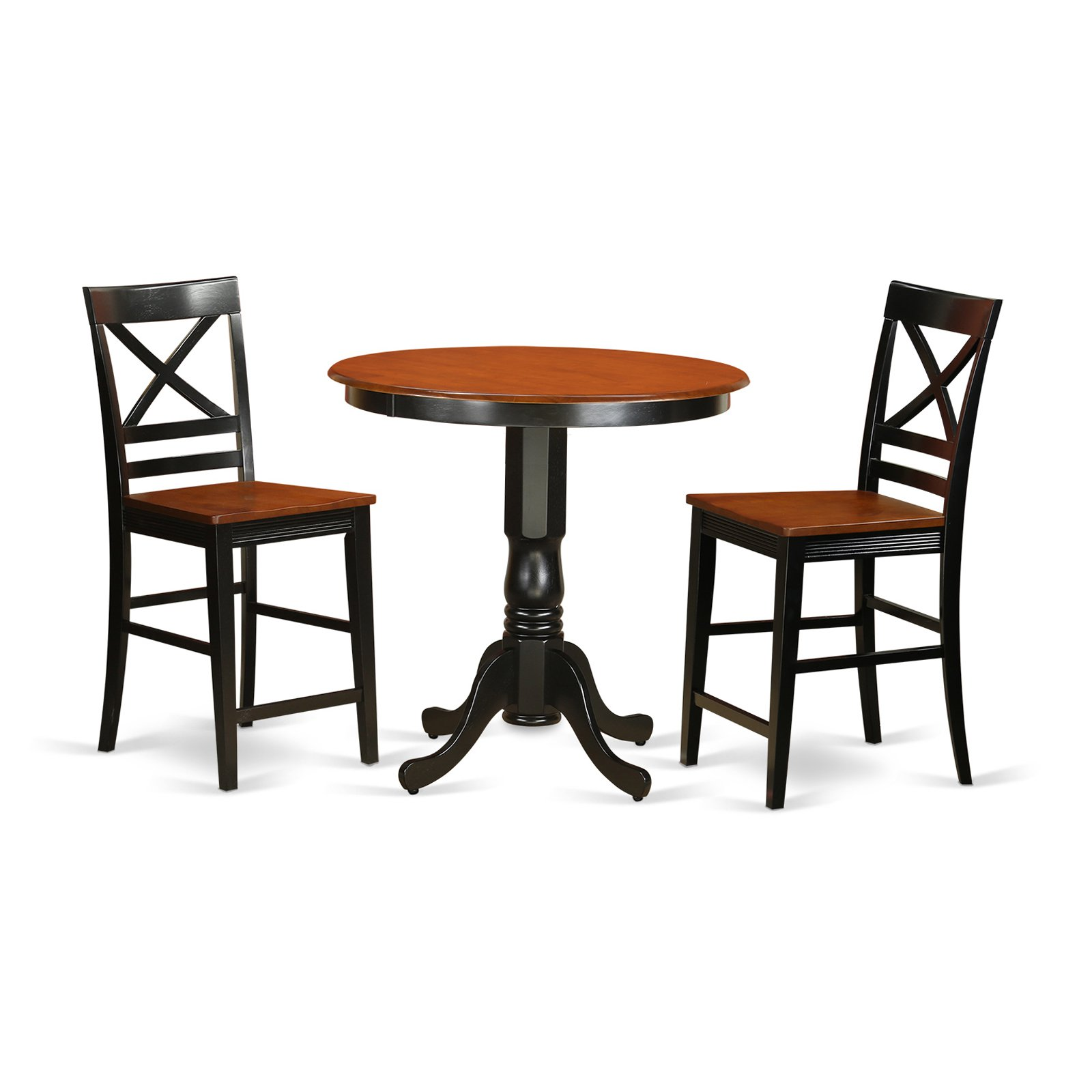 East West Furniture Jackson 3 Piece Cross-And-Ladder Dining Table Set