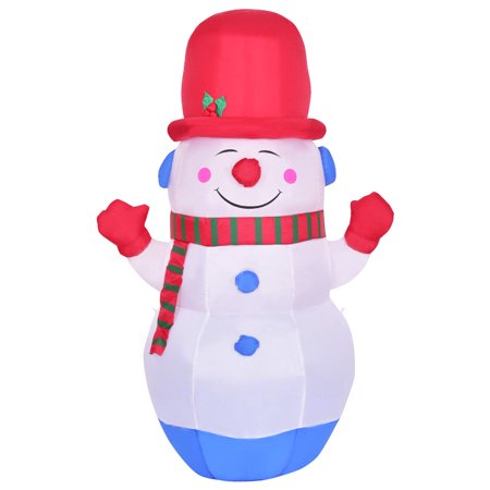 Costway 6' Indoor/Outdoor Colorful LED Snowman Christmas Holiday Decoration Setting - Snowman Led