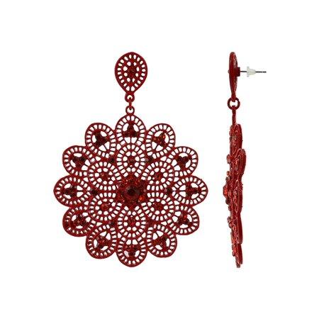Filigree Stone (Gem Avenue Filigree Floral Round Rhinestones Dangle Fashion Earrings)