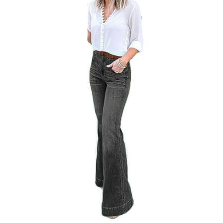 Women Fashion Office Work Classy Pocket Denim Pants Wide Legs Jeans Flap Pocket Wide Leg Jeans