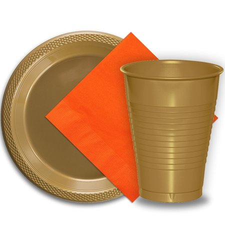 Thanksgiving Paper Plates And Napkins (50 Gold Plastic Plates (9