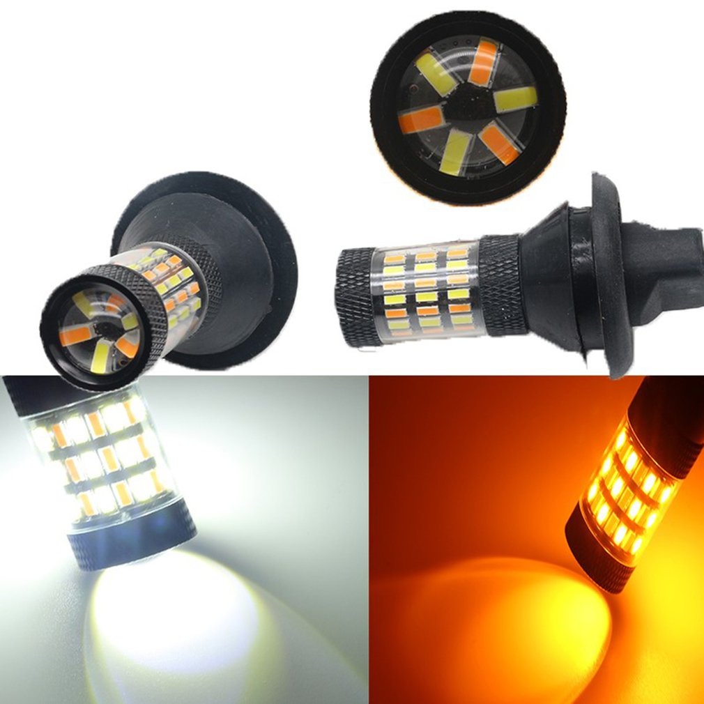 Car Led Turn Signal Decoding Two-color White + Yellow 4014-60smd 3156 Pair