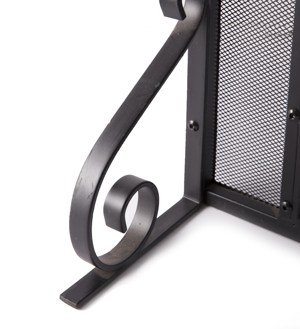 2-Door Steel Fireplace Screen w/ Tempered Glass Accents in Black