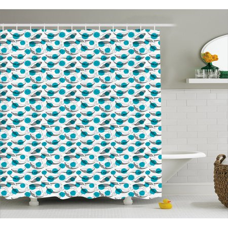 Whale Shower Curtain Monochrome Animal Motifs On Background With Dots Giants Of The Ocean Fabric Bathroom