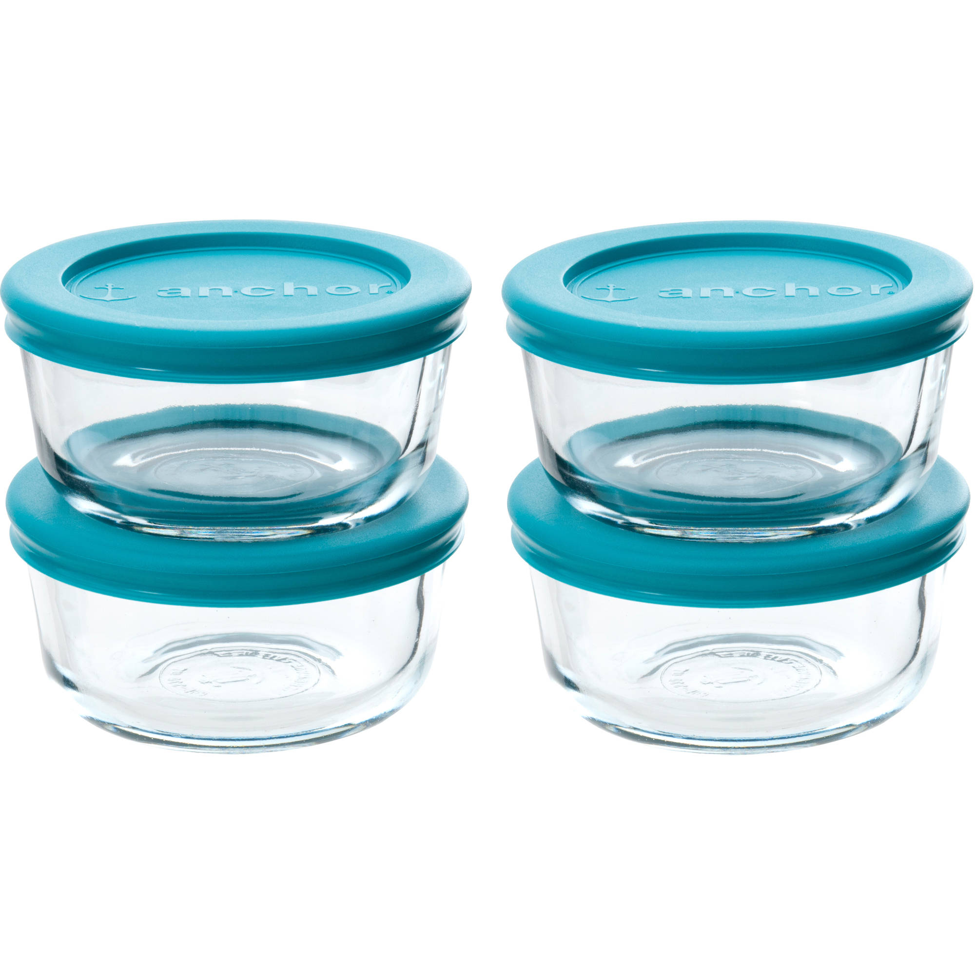 Anchor Hocking Company 1-Cup Round Food Storage Variety Pack with Teal Lids, 8pk