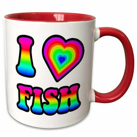 afb129ac Symple Stuff Grunwald Groovy Hippie Rainbow I Heart Love Fish Coffee Mug -  Walmart.com