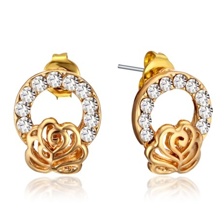 Gemini Women's Yellow Gold Filled Swarovski Crystal Huggie Small Stud Earrings Valentine's Day Gifts Gm128
