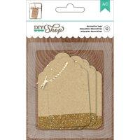 DIY Shop 2 Tags 12pk, Kraft with Gold Glitter